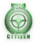Starboard-lit, metallic, Star Citizen Logo comprising a single cruciform star encapsulated by a wreath and set betewen the words STAR and CITIZEN